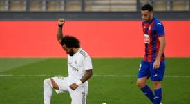 Marcelo marcou o terceiro gol do Real Madrid contra o Eibar. AFP
