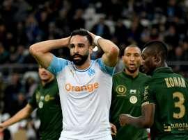 Adil Rami lors du match de championnat contre Reims. AFP