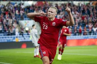 Haaland fue el protagonista del triunfo noruego ante Gibraltar. AFP/Archivo