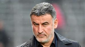 L'entraîneur de Lille Christophe Galtier lors du match à Nîmes. AFP