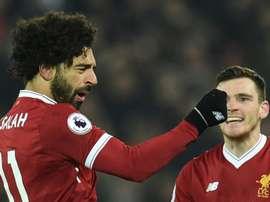 Salah fez o último gol do encontro. AFP