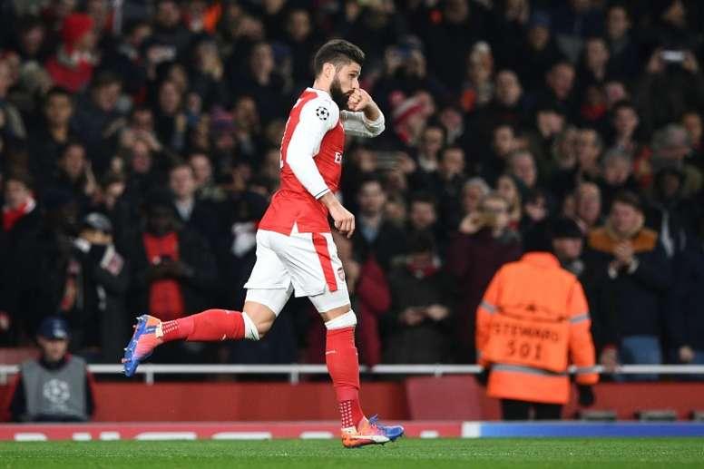 Giroud celebrates scoring for Arsenal. AFP