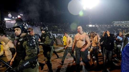 Violence broke out between fans as Red Star Belgrade faced Partizan. AFP