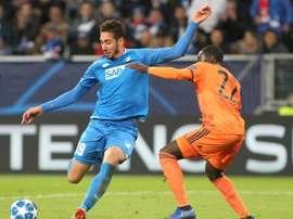 Le joueur d'Hoffenheim de retour à Lyon. AFP