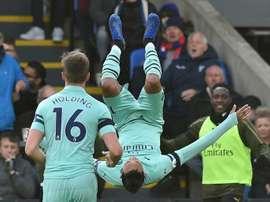 Aubameyang dio el triunfo al Arsenal. AFP/Archivo