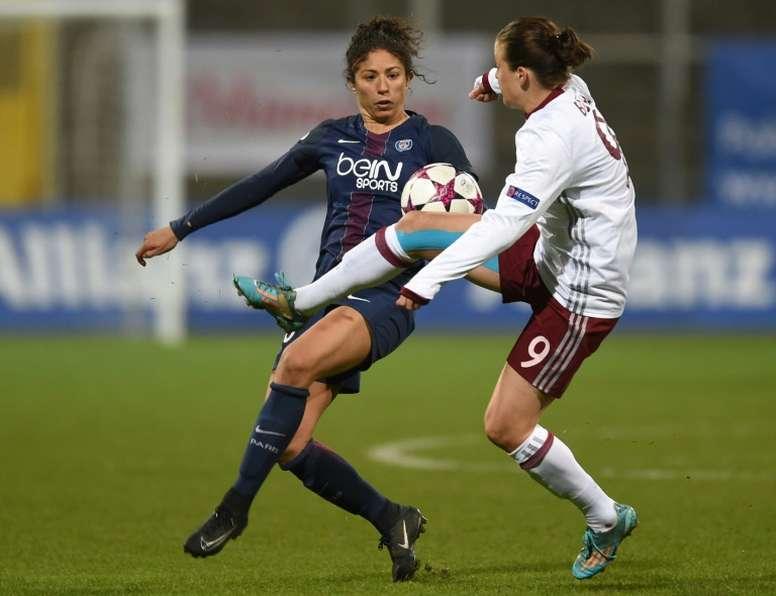 L'attaquante star du PSG Cristiane a buté sur la défense du Bayern Munich. AFP