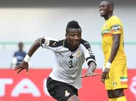 L'attaquant des Black Stars du Ghana Asamoah Gyan auteur de lunique but du match. AFP