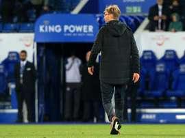 Jürgen Klopp après l'élimination en Coupe de la Ligue face à Leicester. AFP