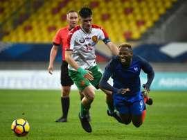 Dembélé contre la Bulgarie lors des qualif pour l'Euro 2019. AFP