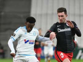 Nkoudou (L) in action for former club Marseille. AFP