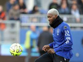 Djibril Cissé, alors attaquant à Bastia, au stade Armand Cesari, le 10 janvier 2015. AFP