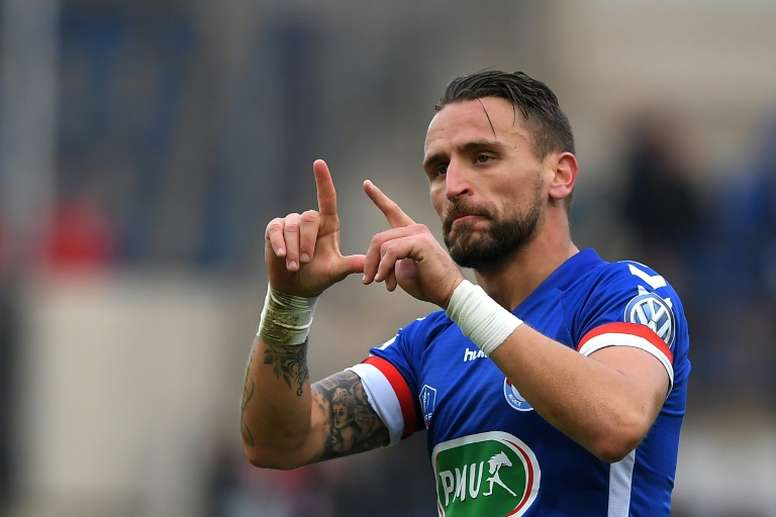 Le milieu de Strasbourg Anthony Gonçalves buteur face à Dijon en Coupe de France à La Meinau. AFP