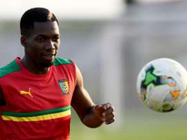 Le défenseur du Cameroun Ambroise Oyongo lors d'un entraînement à Libreville. AFP