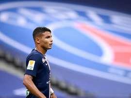 Thiago Silva durant la finale de la Coupe de la Ligue. AFP