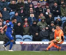 Nick Pope, avec Burnley, contre Everton lors dun match de Premier League à Burnley. AFP