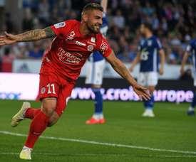 Delort permet à Montpellier de rester en course pour l'Europe. AFP