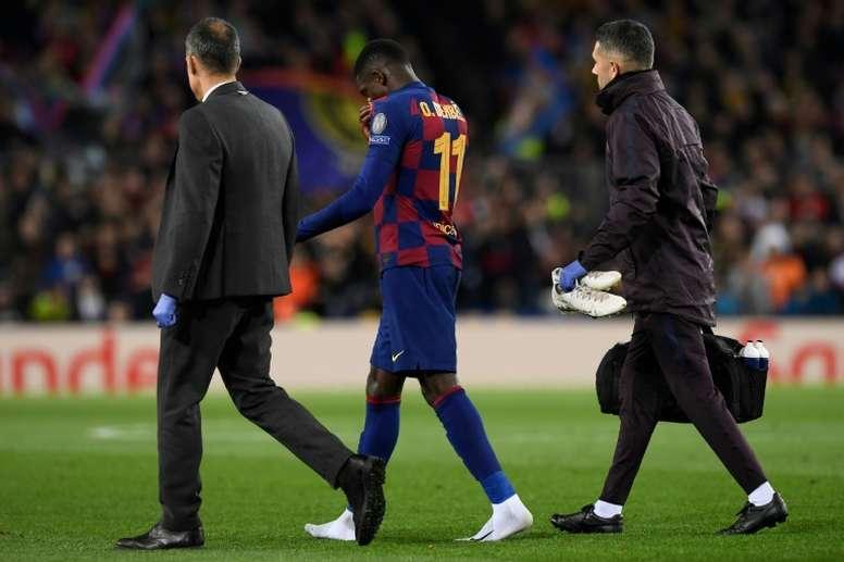 Dembélé se serait également blessé contre l'Atletico. afp