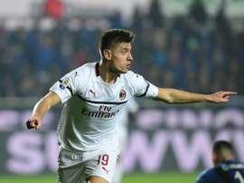 Piatek offre la victoire à l'AC Milan face à Vérone. AFP