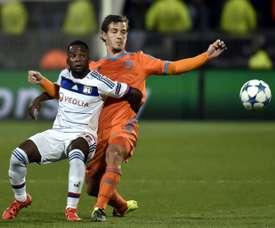 Aldo Kalulu, le 29 septembre 2015 à Lyon lors du match de la Ligue des champions face à Valence. AFP