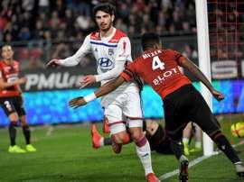 Les compos officielles du match de Ligue 1 entre Lyon et Rennes. AFP