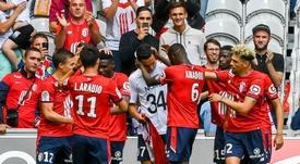 Anwar El-Ghazi (c) fête son but pour Lille contre Nantes. AFP