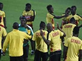 Les joueurs du Ghana lors d'un entraînement, le 27 janvier 2017 à Oyem. AFP