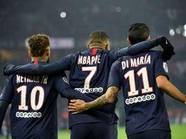 Neymar, Kylian Mbappé e Angel Di María estão entre os titulares do PSG. AFP