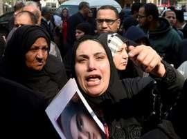 Des proches des victimes de Port Said réagissent après larrêt de la Cour de Cassation. AFP