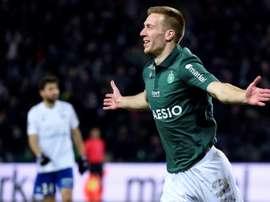 L'attaquant slovène de Saint-Etienne Robert Beric buteur contre Strasbourg. AFP