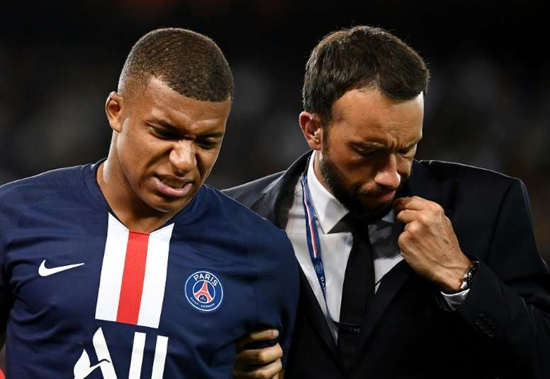 Mbappe could be out for almost a month. AFP