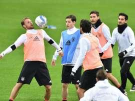 Séance d'entraînement de l'équipe d'Allemagne, où elle joue contre l'Italie. AFP
