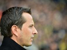 L'entraîneur de Rennes Julien Stephan lors du déplacement de son équipe à Nantes. AFP