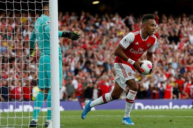 Aubameyang got both of Arsenal's goals. AFP/Archivo