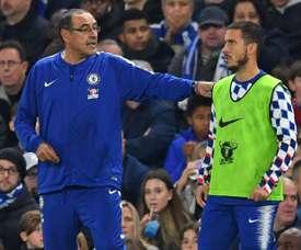Hazard a encore été questionné sur le Real Madrid. AFP