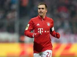Le défenseur du Bayern Philipp Lahm en Coupe d'Allemagne face à Wolfsburg, le 7 février 2017. AFP
