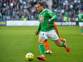 Yohan Mollo, alors sous le maillot de Saint-Etienne, lors d'un match contre Lorient. AFP