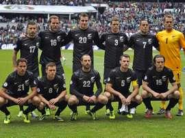 L'équipe de Nouvelle-Zélande de football, avant une rencontre, le 13 novembre 2013 à Mexico. AFP