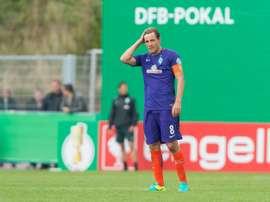 Fritz, sorprendido e incrédulo por la eliminación en la DFB Pokal. AFP
