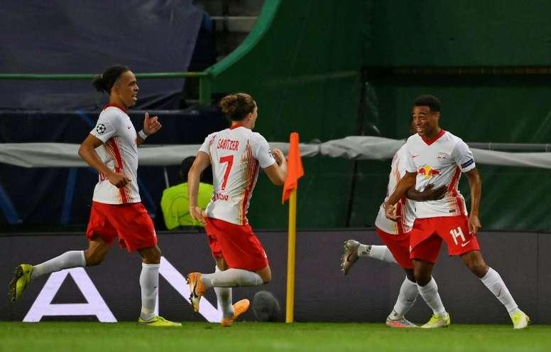 RB Leipzig eliminou o Atlético de Madrid nas quartas de final da Liga dos Campeões. AFP