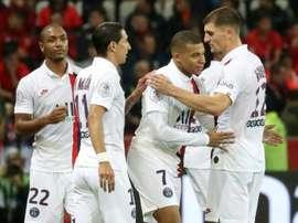 Mbappé voltou com assistência e gol em 13 minutos. AFP