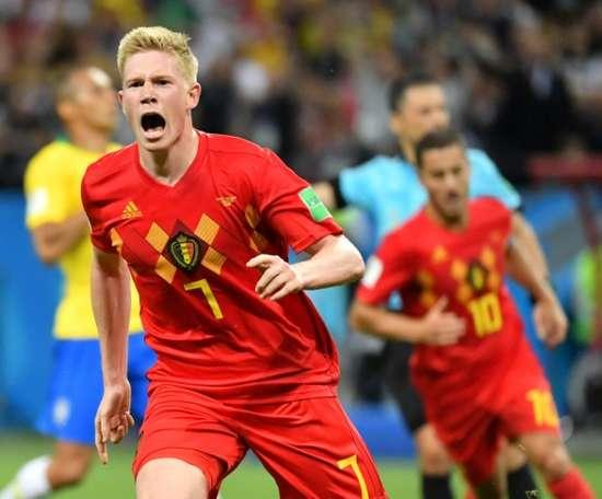 De Bruyne scored a stunning second for Belgium. AFP