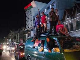 Supporters des 'Barea' dans les rues de Antananarivo après la victoire. AFP