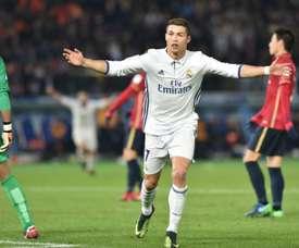 La joie de 'attaquant du Real Madrid, Ronaldo, auteur d'un triplé face aux Japonais de Kashima. AFP