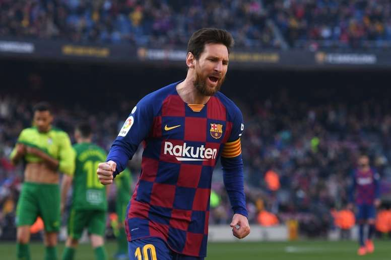 Messi netted four against Eibar. AFP