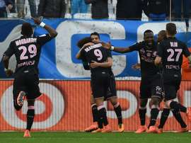 La joie des joueurs de Toulouse après le but de Wissam Ben Yedder face à lOM, le 6 mars 2016 à Marseille