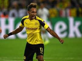 Aubameyang fez uma grande partida contra o Bayer Leverkusen. AFP