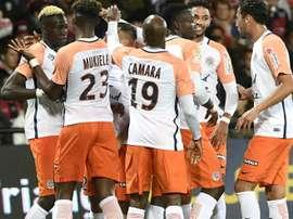 Les joueurs de Montpellier après un but contre Guingamp en Coupe de la Ligue. AFP