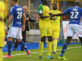 La joie de lentraîneur Claudio Ranieri, vainqueur avec Nantes à Strasbourg 2-1. AFP