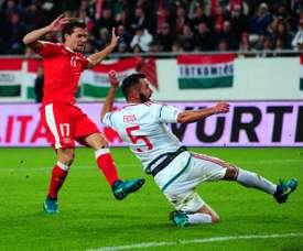 Lattaquant Valentin Stocker (N.17) inscrit le but de la victoire de la Suisse contre la Hongrie à Budapest, le 7 octobre 2016