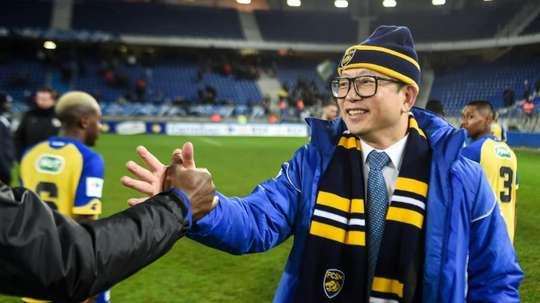 Le propriétaire chinois du FC Sochaux Wing Sang Li après la victoire en Coupe de France. AFP